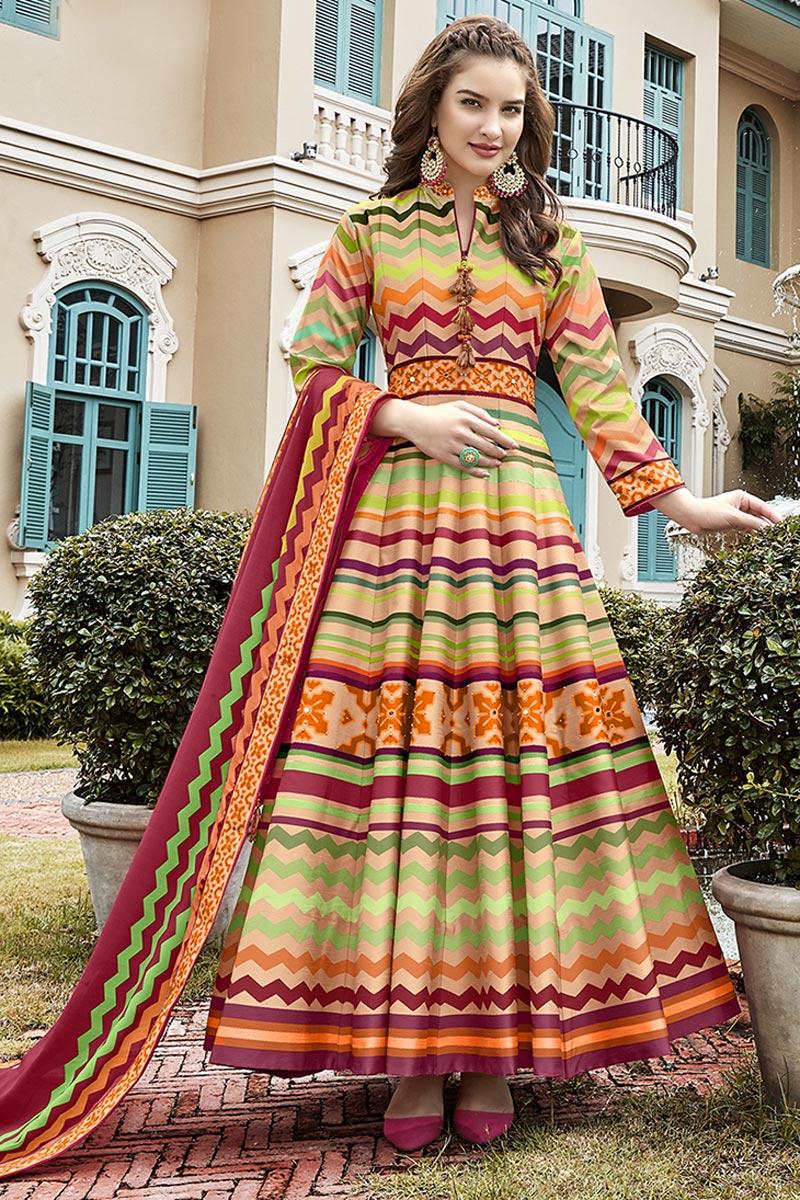 Sangeet Wear Sky Blue Color Art Silk Fabric Printed Anarkali Suit With Leggings