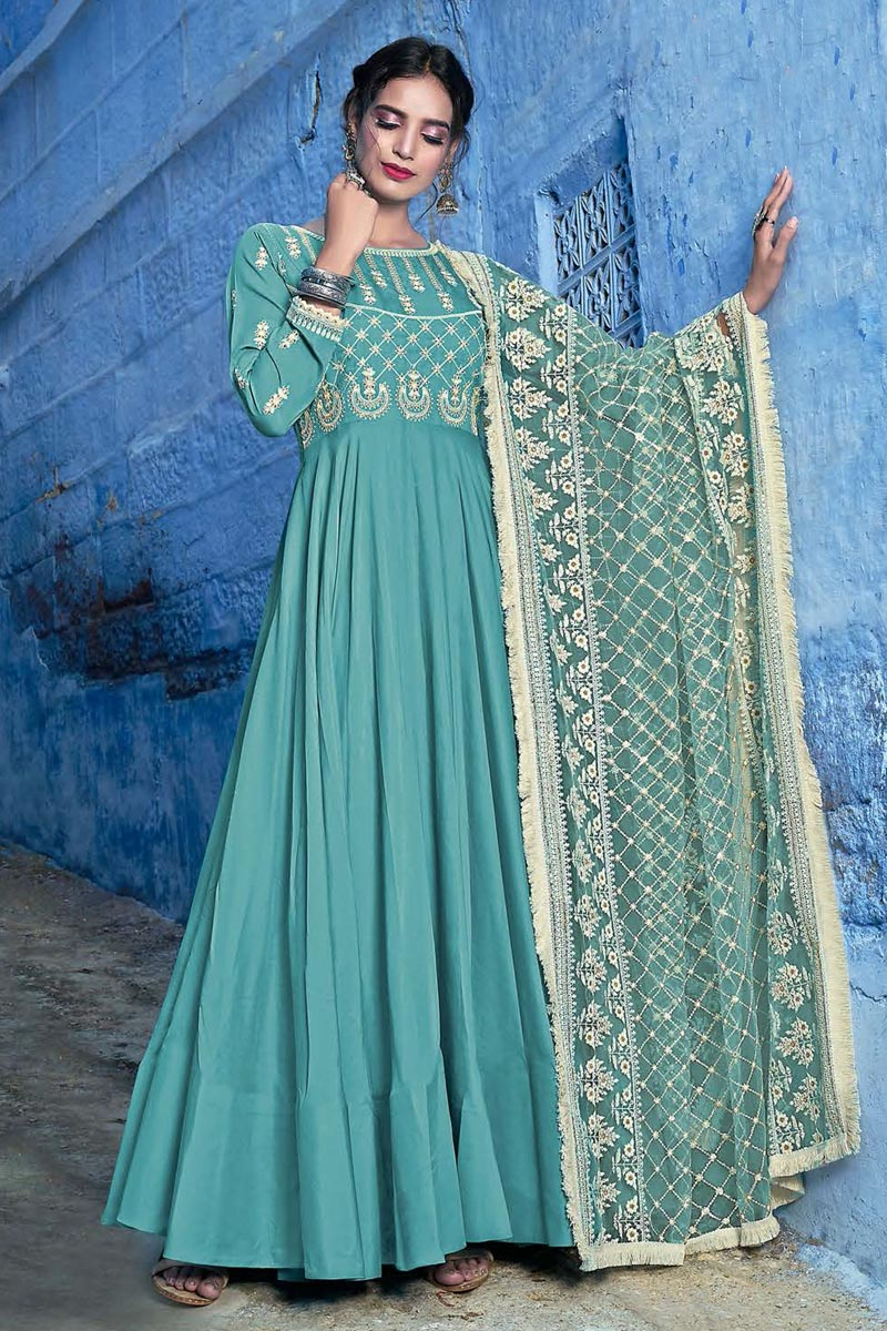 Cyan Party Wear Embroidered Readymade Anarkali Suit With Leggings In Fancy Fabric