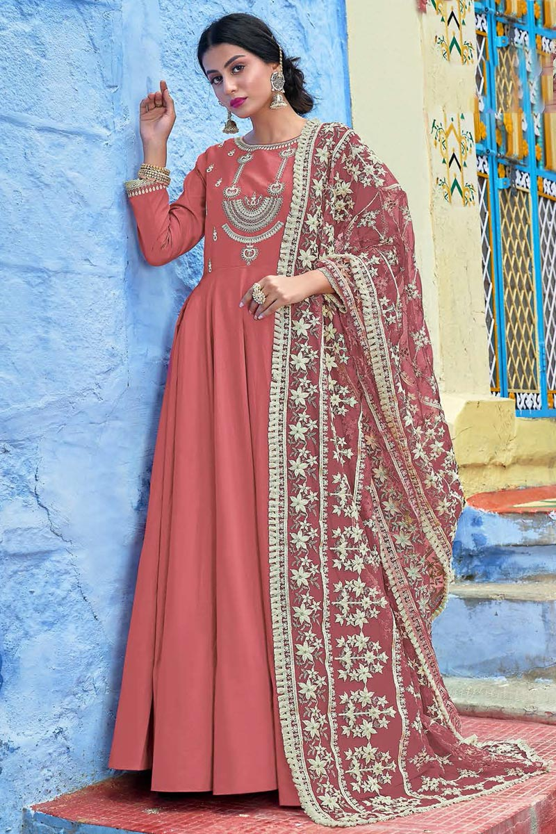Party Wear Pink Fancy Fabric Embroidered Readymade Anarkali Dress With Leggings