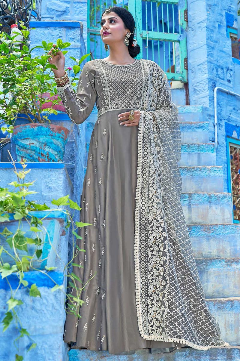 Party Wear Fancy Fabric Embroidered Readymade Anarkali Suit With Leggings In Grey