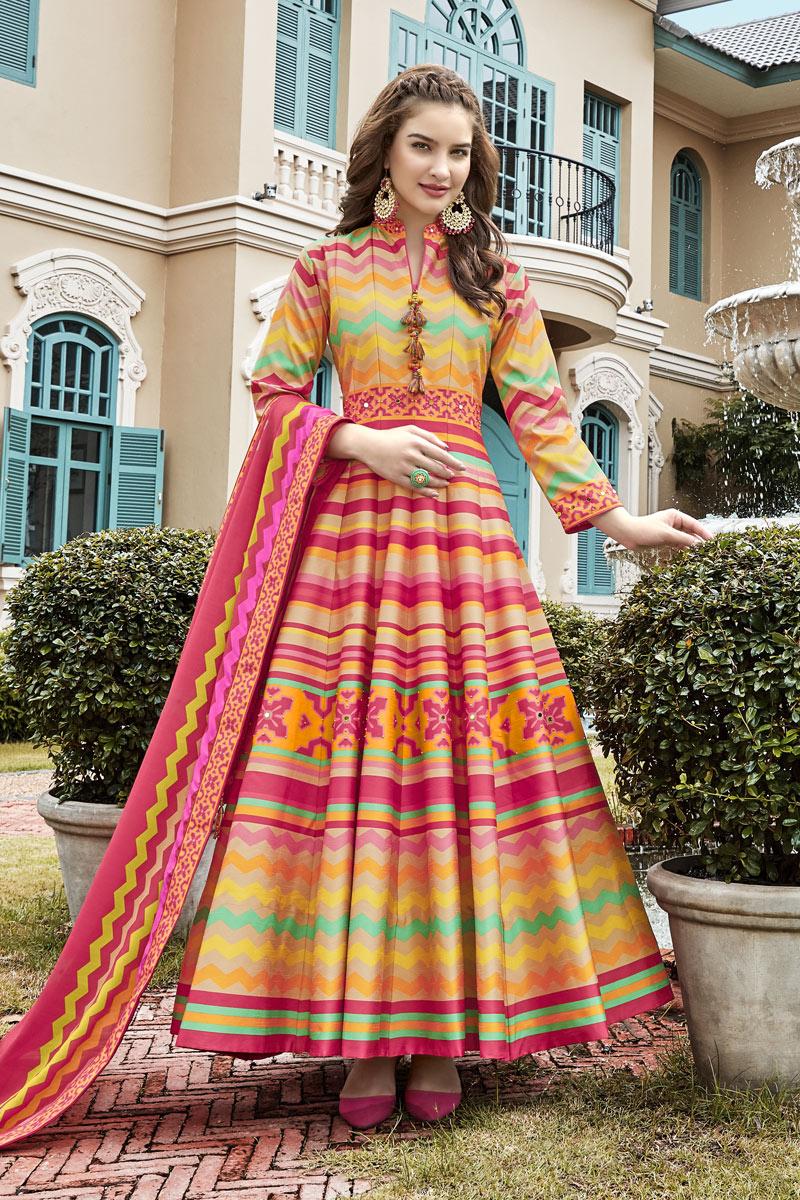 Art Silk Fabric Readymade Anarkali Suit