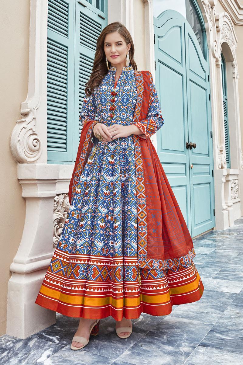 Art Silk Fabric Designer Blue Color Readymade Anarkali Dress