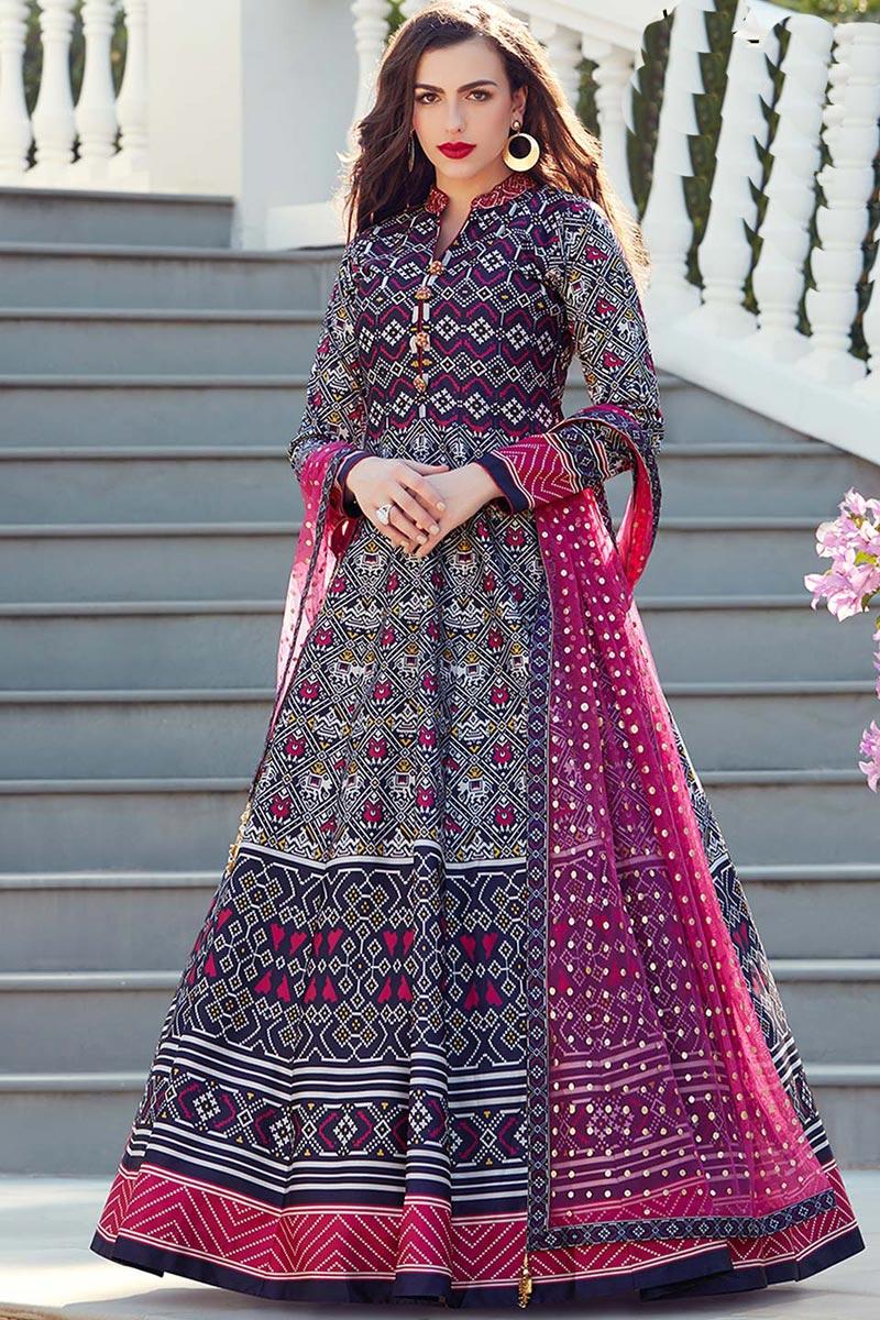 Eid Special Art Silk Fabric Navy Blue Color Wedding Wear Digital Print Readymade Anarkali Salwar Suit