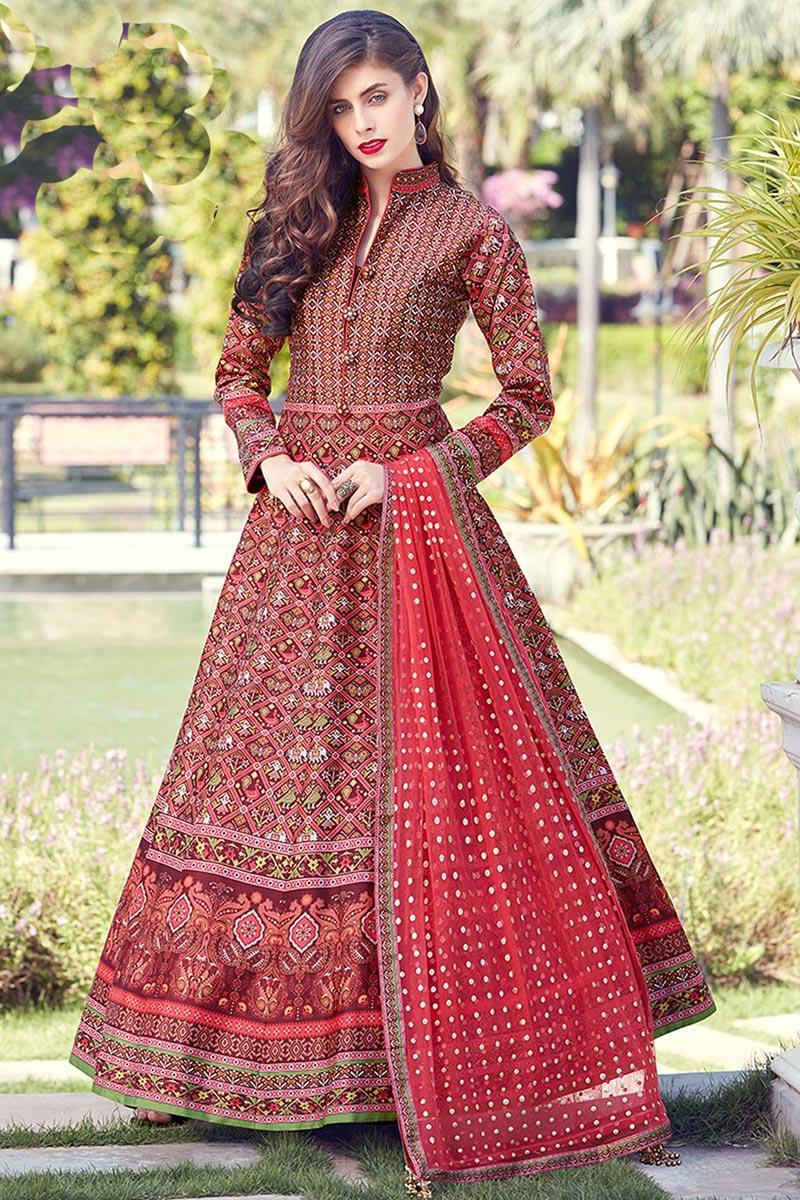 Eid Special Red Color Digital Print Art Silk Fabric Sangeet Wear Readymade Anarkali Suit