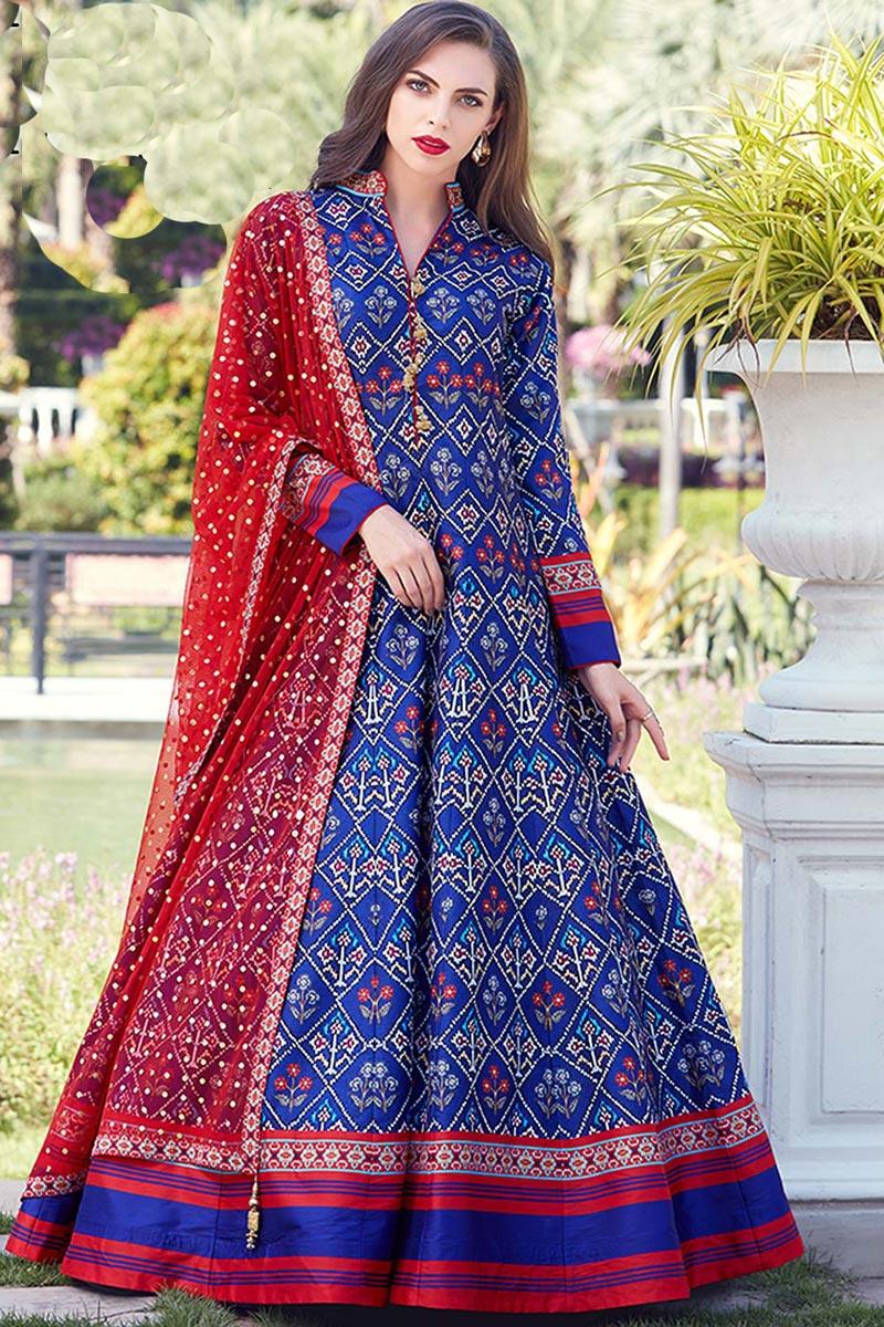 Eid Special Art Silk Fabric Blue Color Function Wear Digital Print Readymade Anarkali Suit