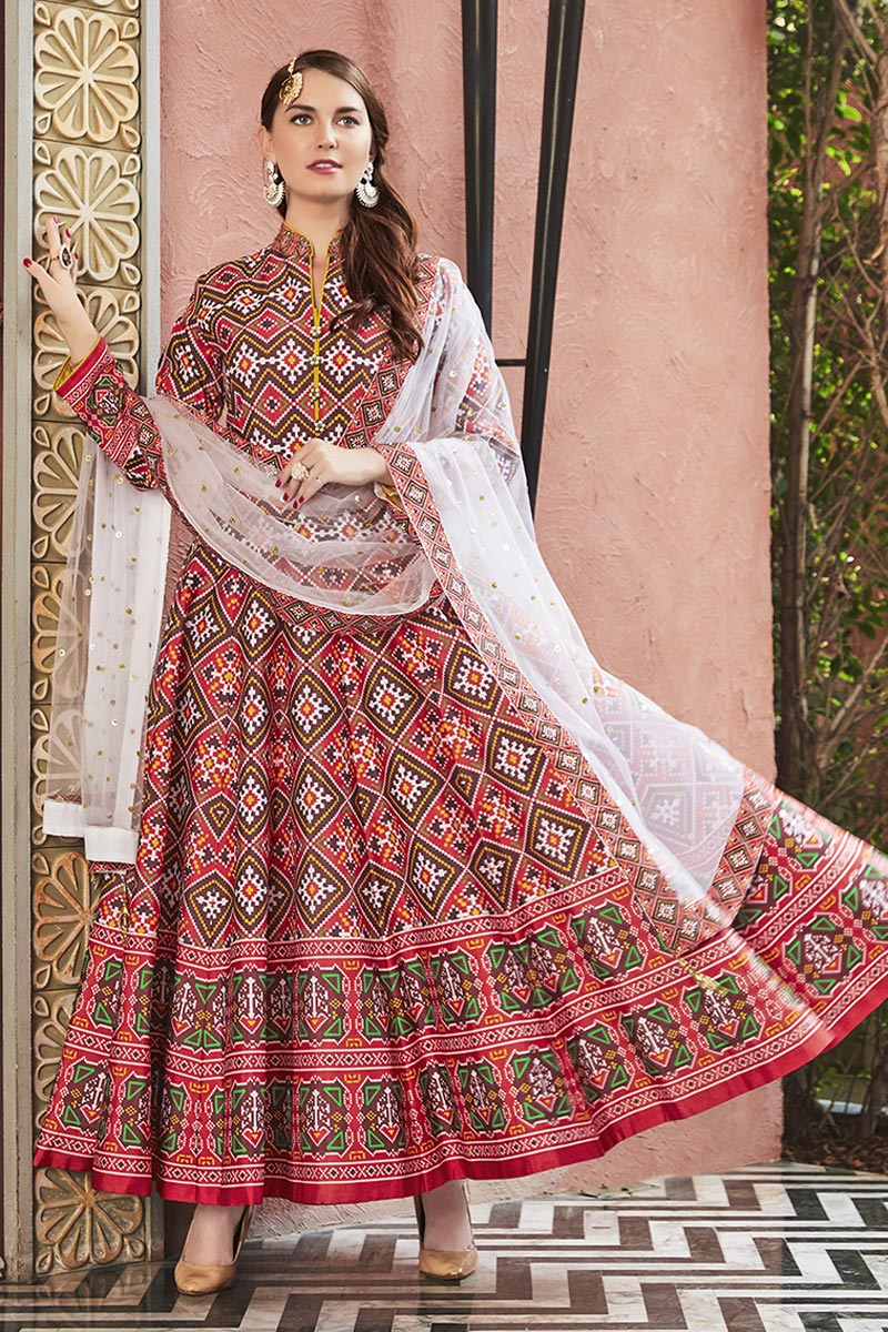 Eid Special Designer Party Wear Art Silk Patola Style Printed Readymade Anarkali Suit In Red