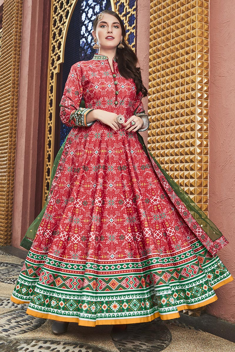 Eid Special Party Wear Designer Red Patola Style Printed Art Silk Readymade Anarkali Dress