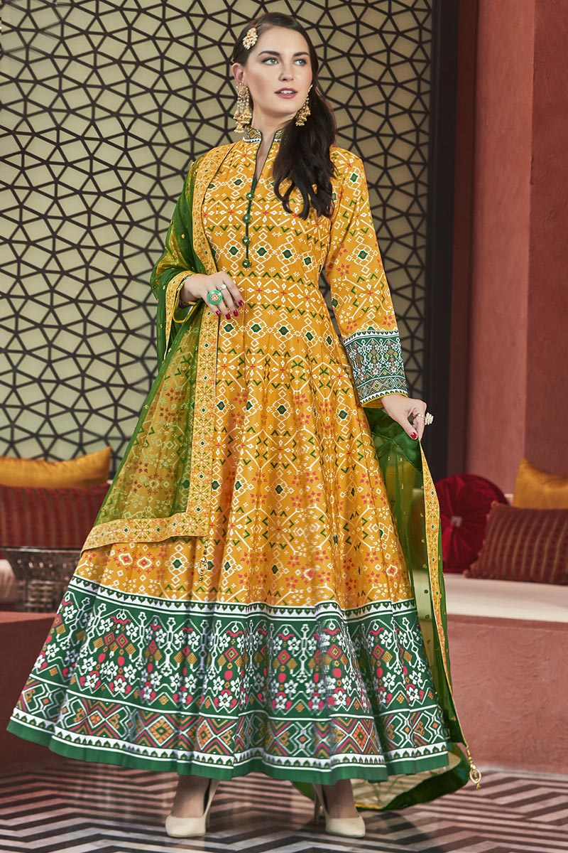 Eid Special Art Silk Party Wear Patola Style Printed Designer Readymade Anarkali Dress In Mustard