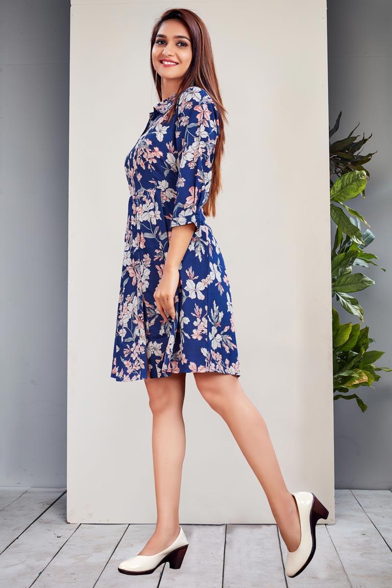Blue Color Fancy Floral Print Crepe Kurti