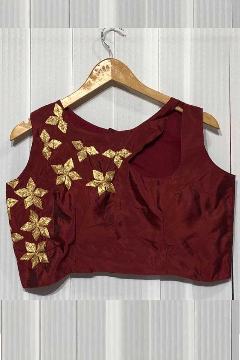 Taffeta Silk Readymade Designer Blouse In Maroon