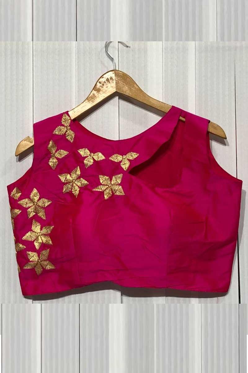 Best Selling Dark Pink Taffeta Silk Readymade Stylish Blouse