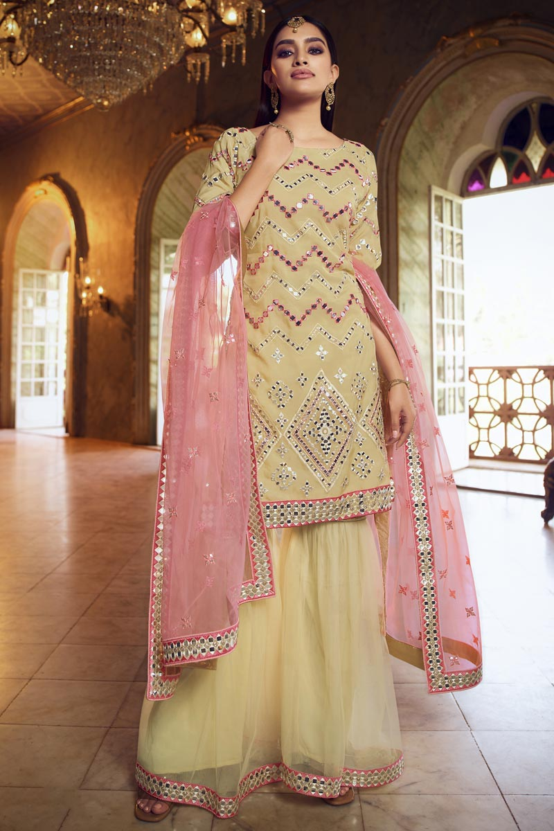 Festive Wear Organza Fabric Chic Embroidered Yellow Color Sharara Suit