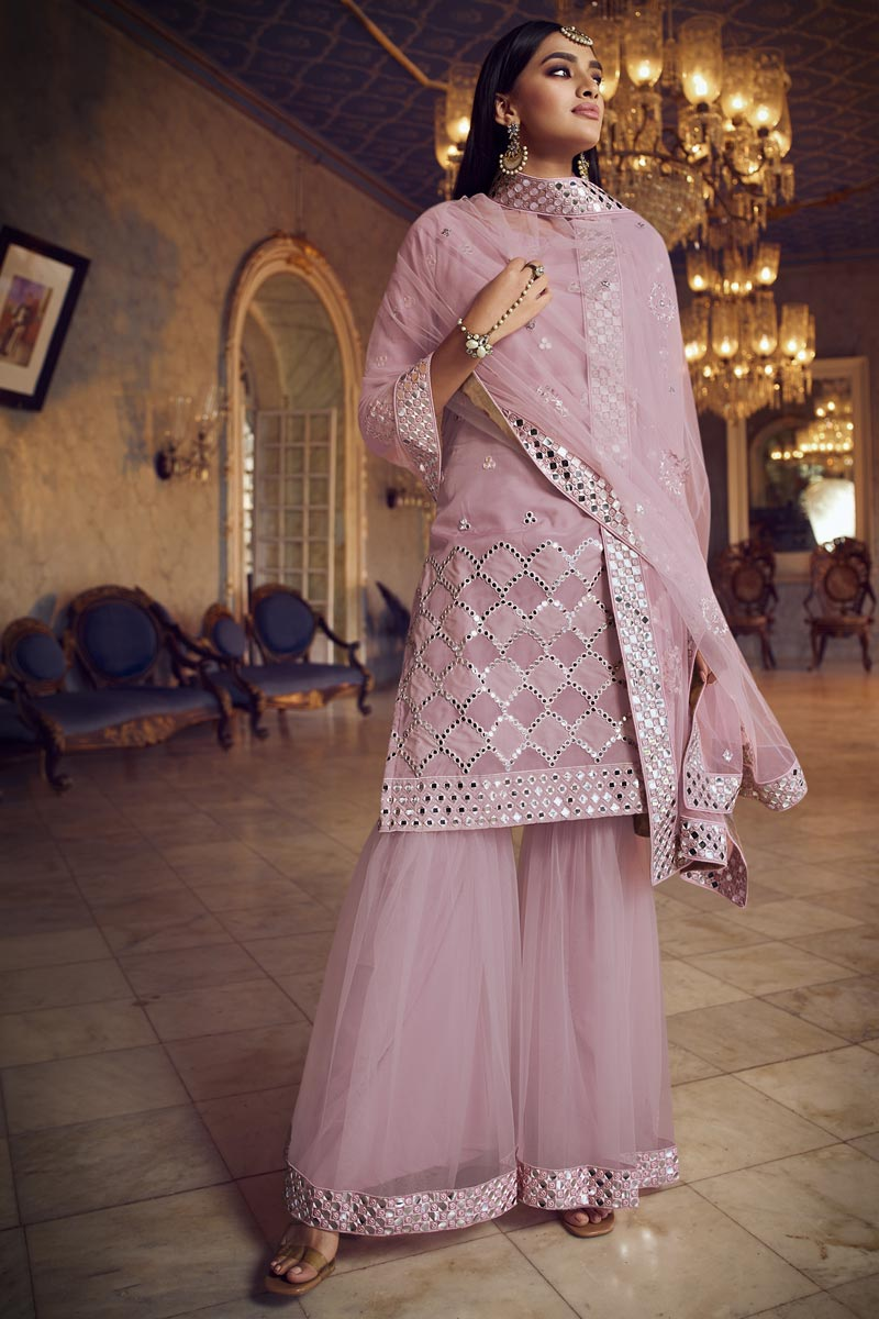 Pink Color Chic Festive Wear Embroidered Sharara Suit In Organza Fabric