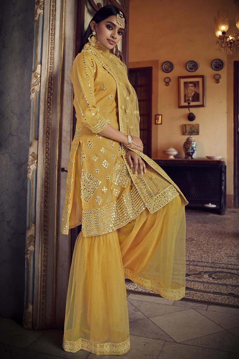 Organza Fabric Festive Wear Yellow Color Chic Embroidered Sharara Suit