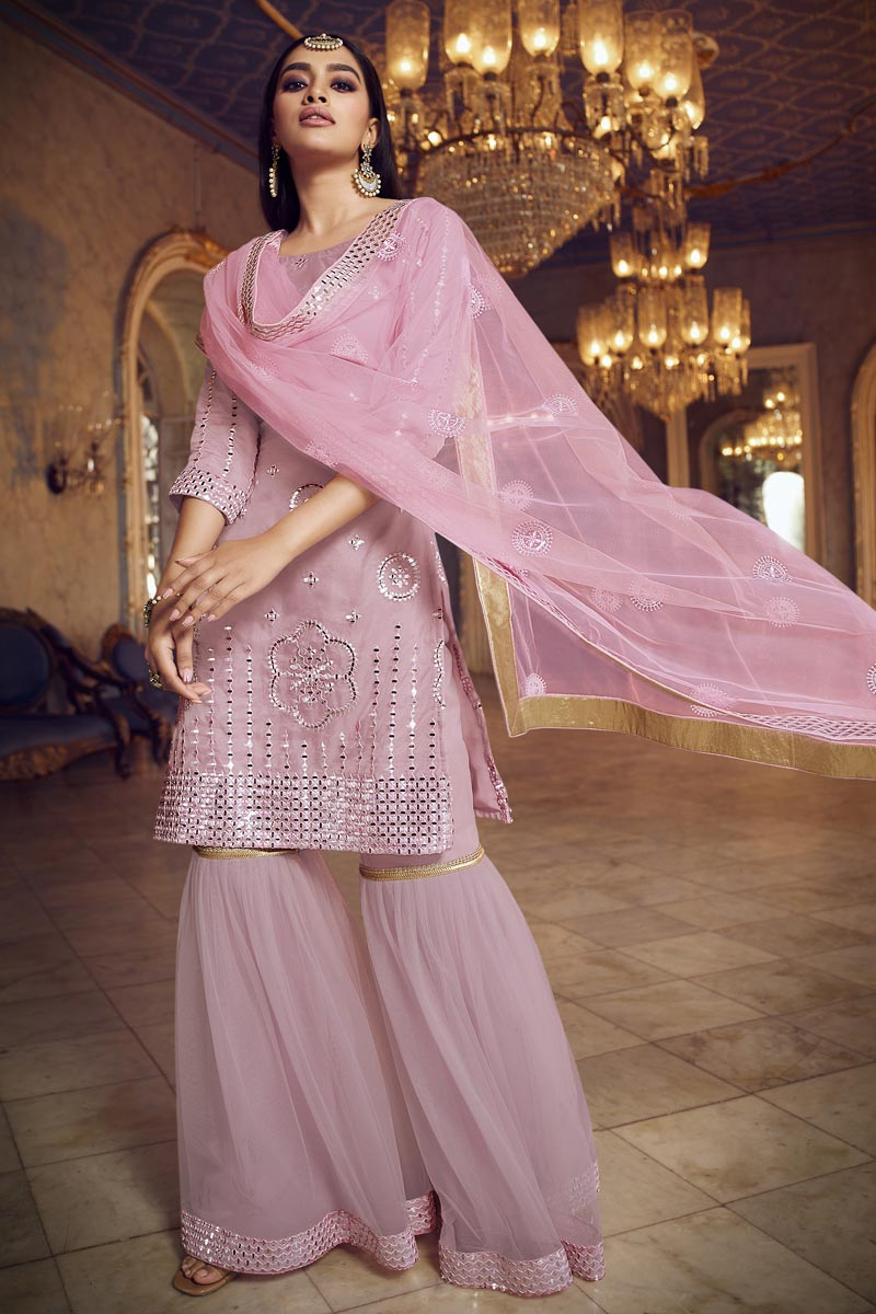 Festive Wear Pink Color Chic Organza Fabric Embroidered Sharara Suit