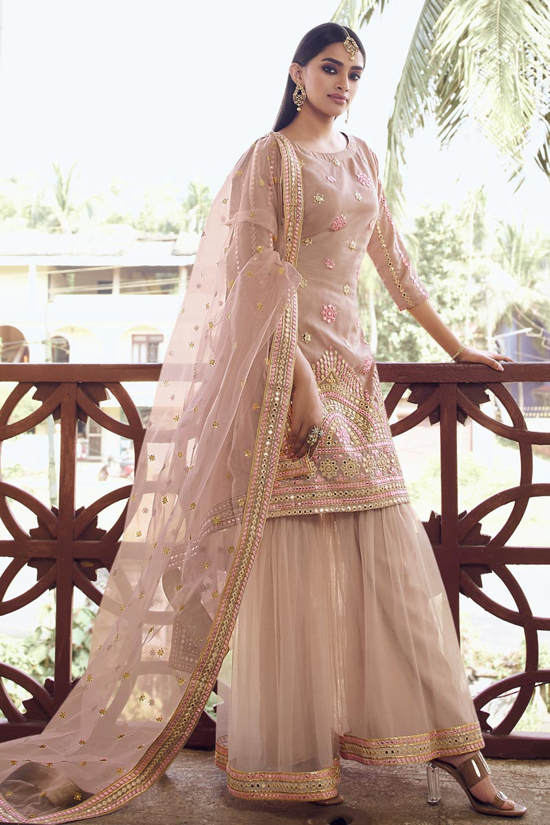 Organza Fabric Festive Wear Chic Embroidered Sharara Suit In Peach Color