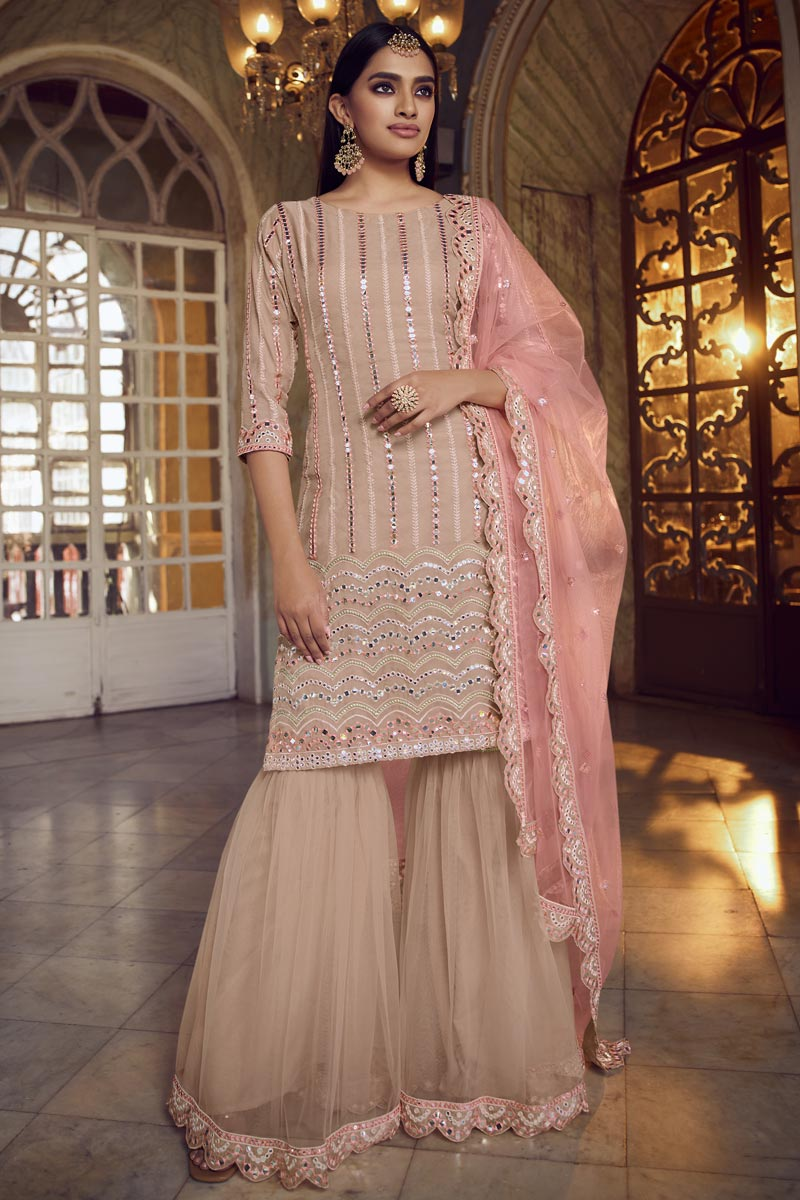 Festive Wear Peach Color Chic Embroidered Organza Fabric Sharara Suit