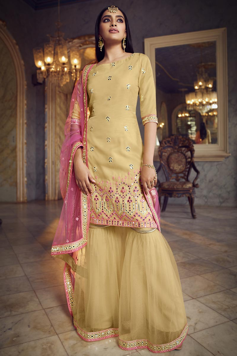 Organza Fabric Chic Festive Wear Embroidered Sharara Suit In Yellow Color