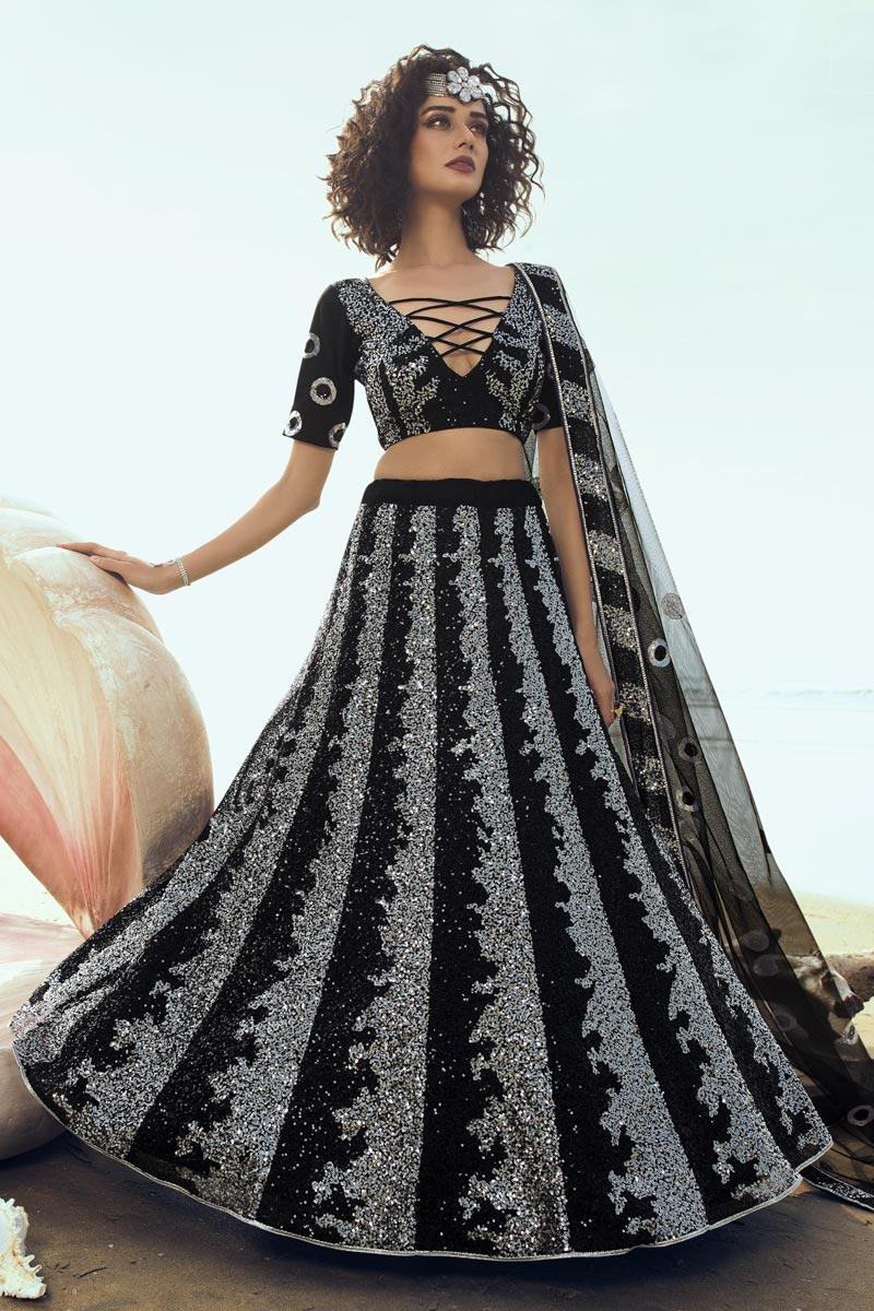 Net Fabric Wedding Wear 3 Piece Lehenga