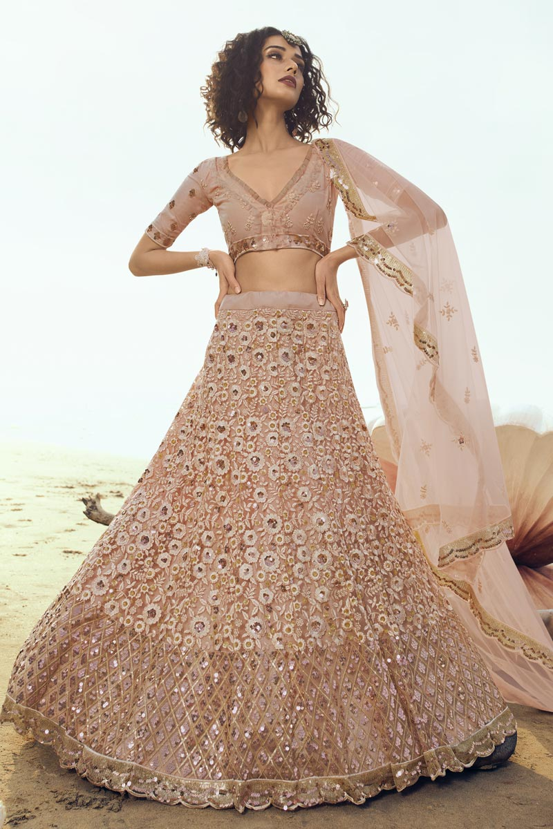 Net Fabric Peach Color Wedding Wear 3 Piece Lehenga Choli