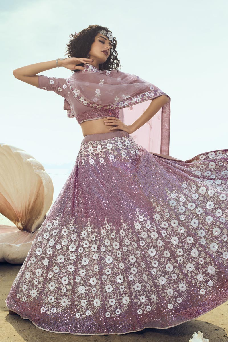 Net Fabric Pink Color Designer Wedding Lehenga Choli