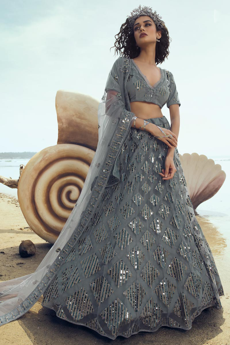 Grey Color Net Fabric Reception Wear Lehenga Choli