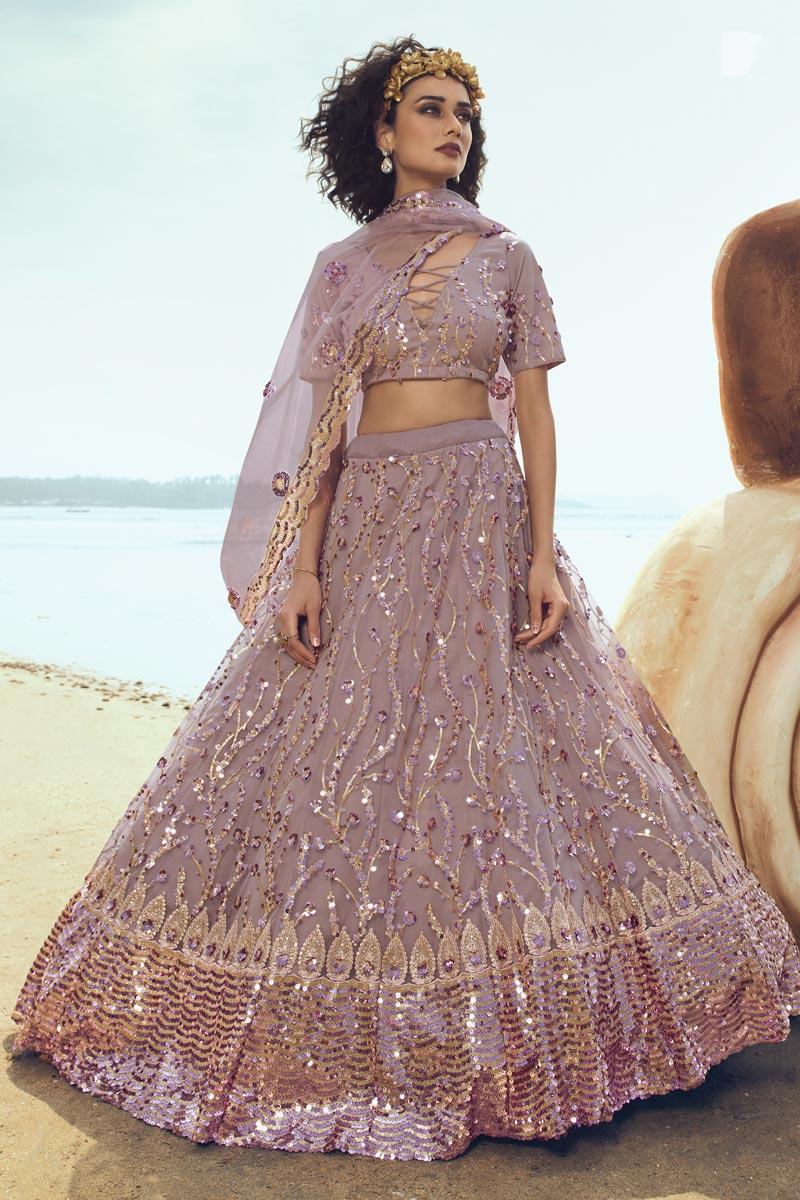 Sequins Work Net Fabric Designer Lehenga