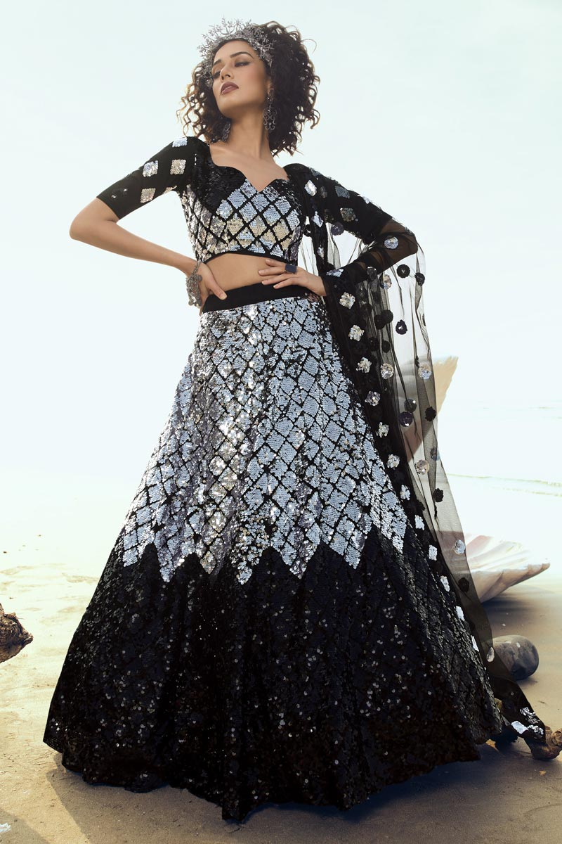 Sequins Work Black Color Designer 3 Piece Lehenga