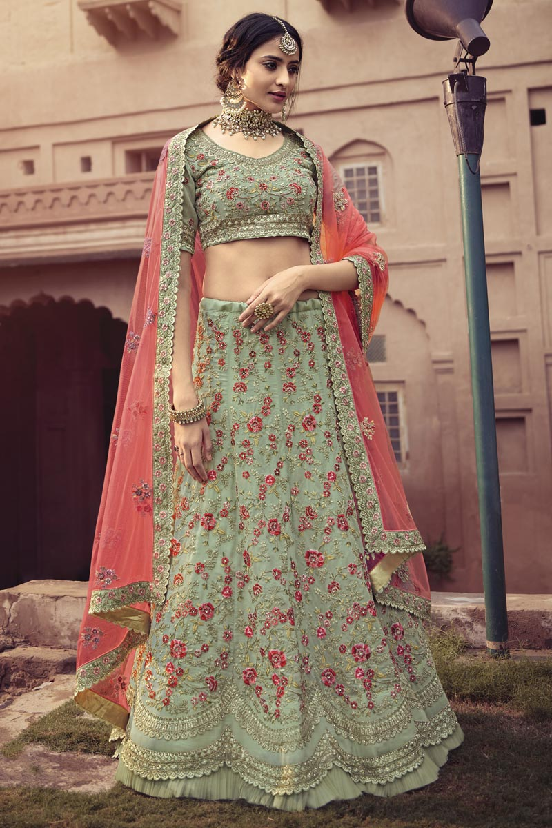 Georgette Fabric Sangeet Wear Sea Green Color Embroidery Work Lehenga Choli