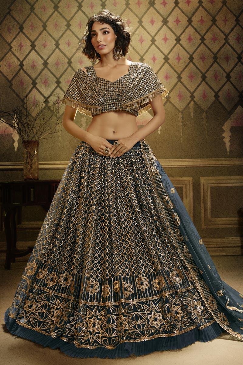 Teal Color Sangeet Wear Sequins Work Net Fabric Lehenga Choli
