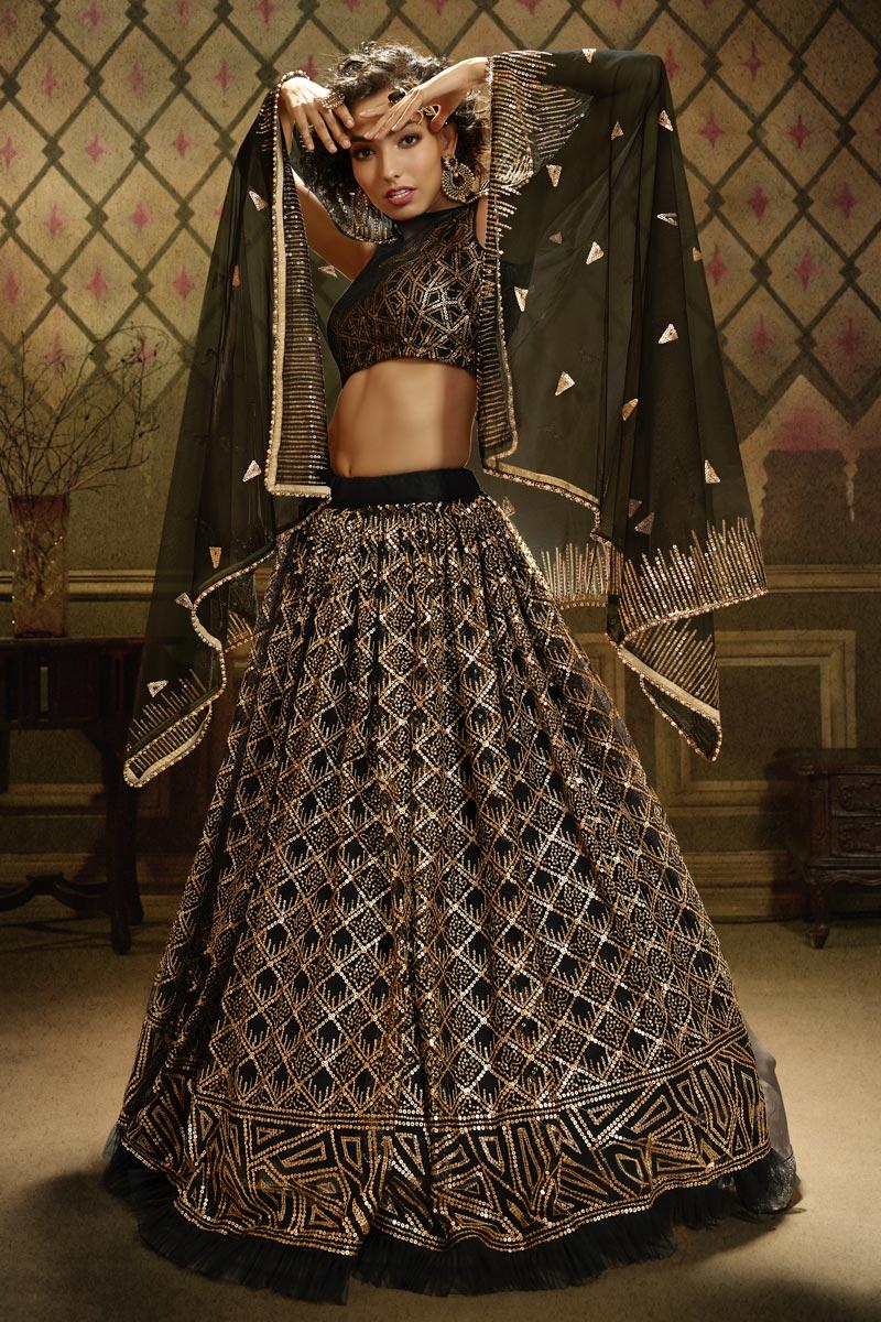 Sangeet Wear Black Color Net Fabric Sequins Work Lehenga