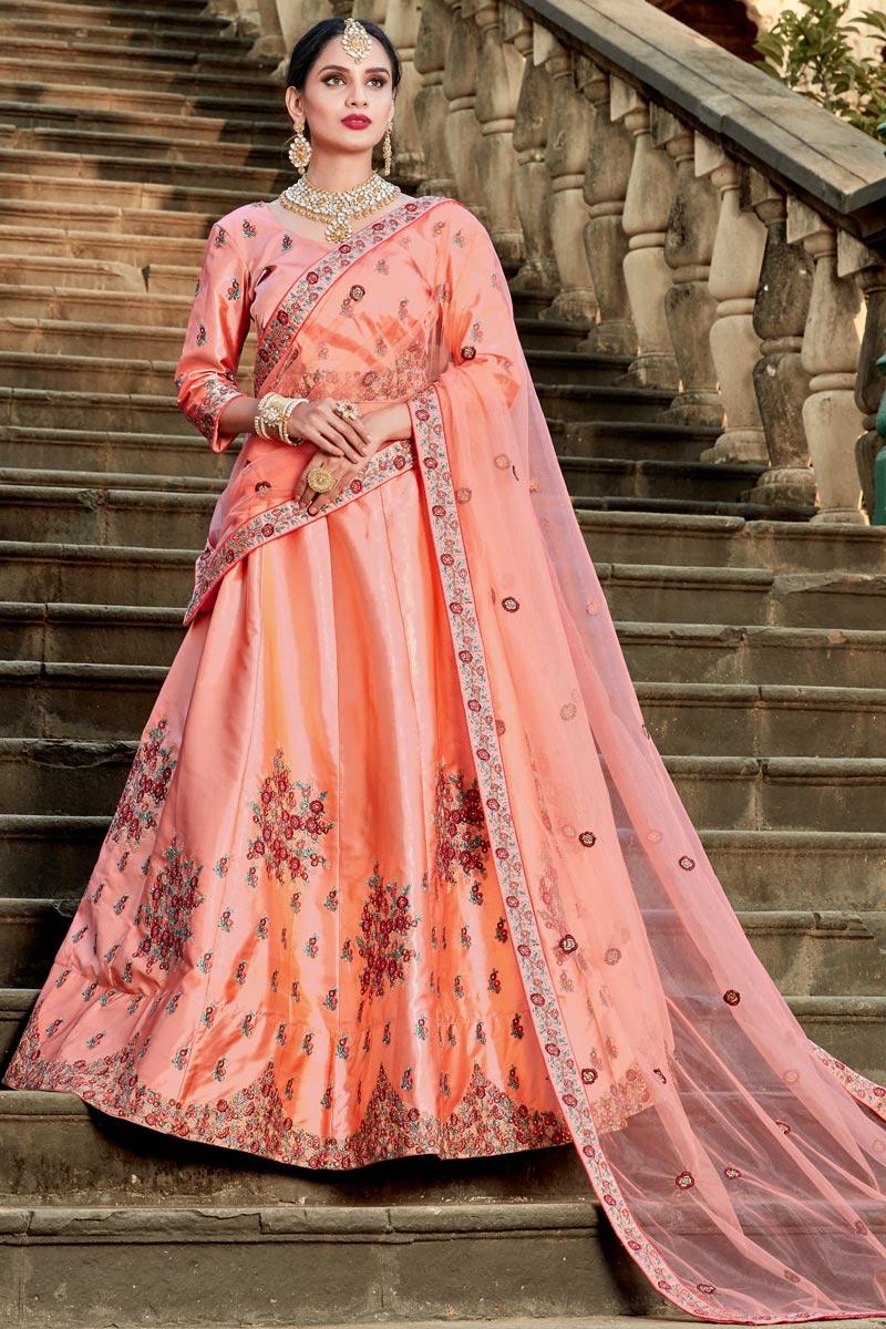Exclusive Embellished Fancy Salmon Color Lehenga Choli In Satin Fabric