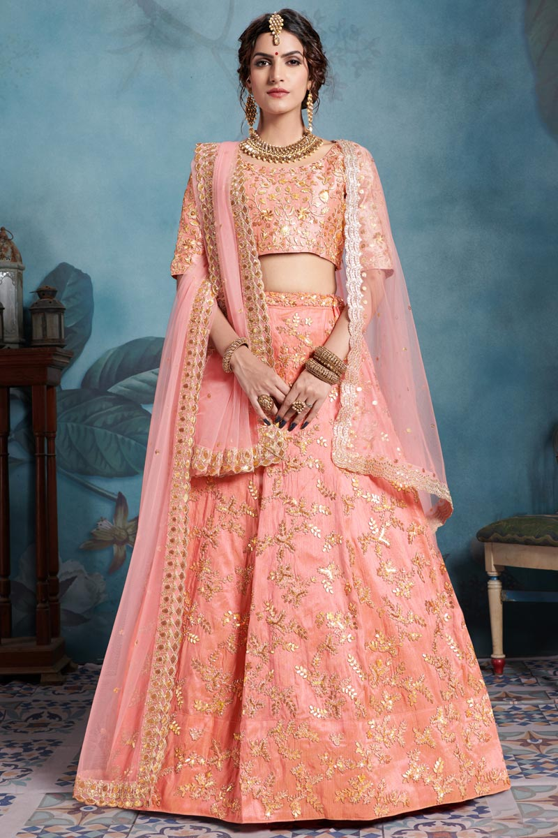 Exclusive Peach Art Silk Traditional Wear Lehenga With Embroidery Work