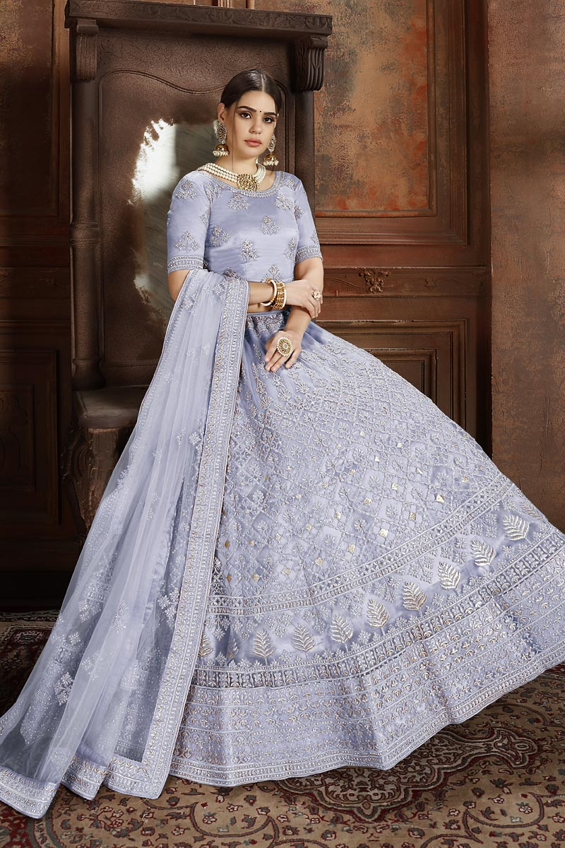 Exclusive Net Fabric Sangeet Function Wear Designer Embroidered Lehenga In Lavender Color