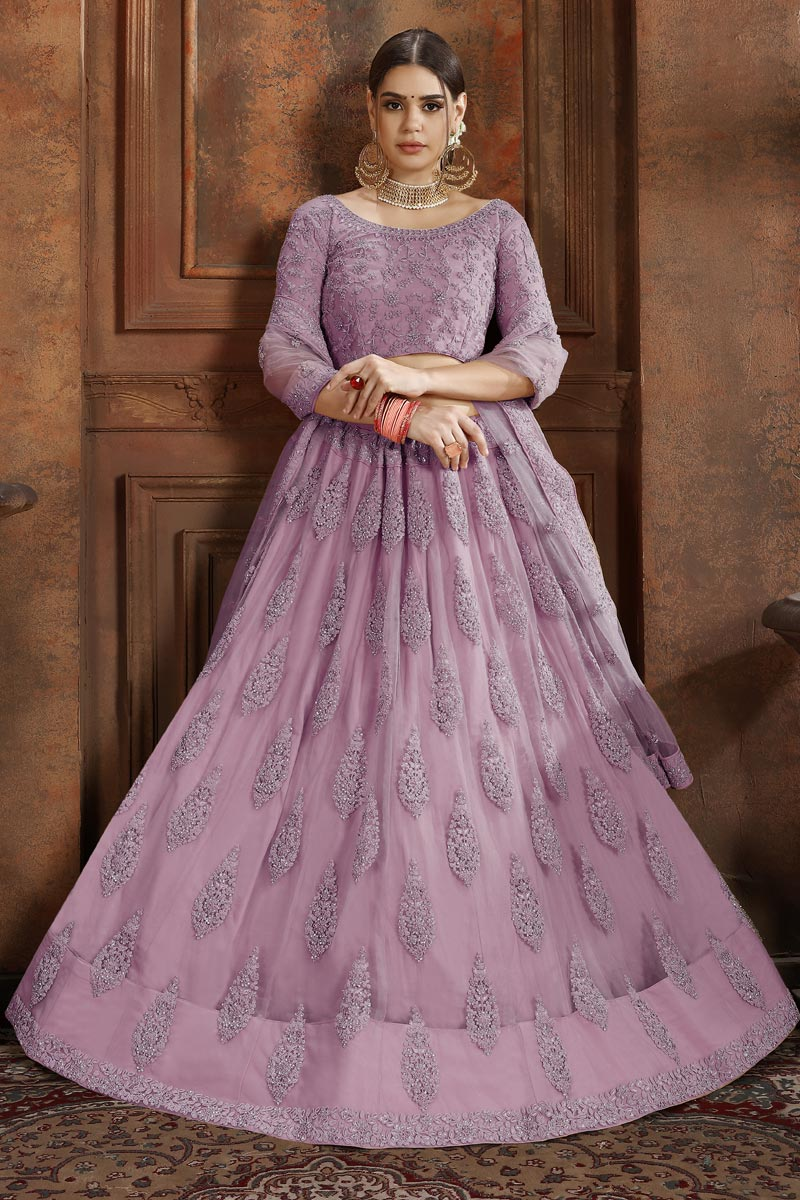 Exclusive Designer Embroidered Net Fabric Function Wear Pink Lehenga Choli