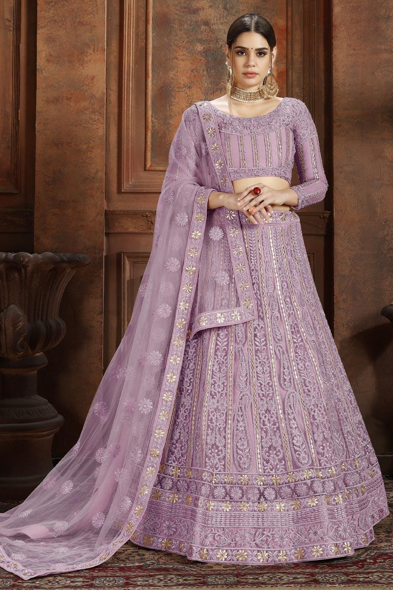 Exclusive Function Wear Pink Embroidered Net Fabric Designer Lehenga Choli