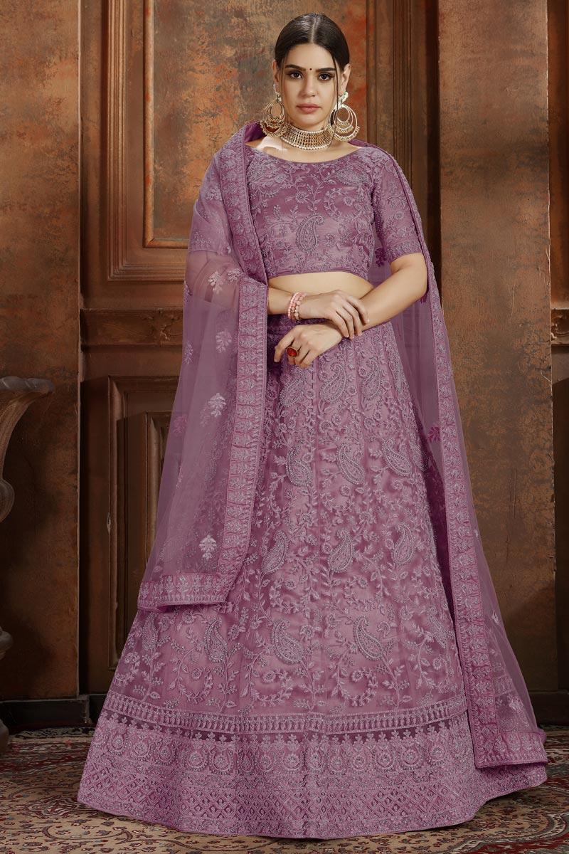 Exclusive Net Fabric Sangeet Function Wear Designer Embroidered Pink Lehenga