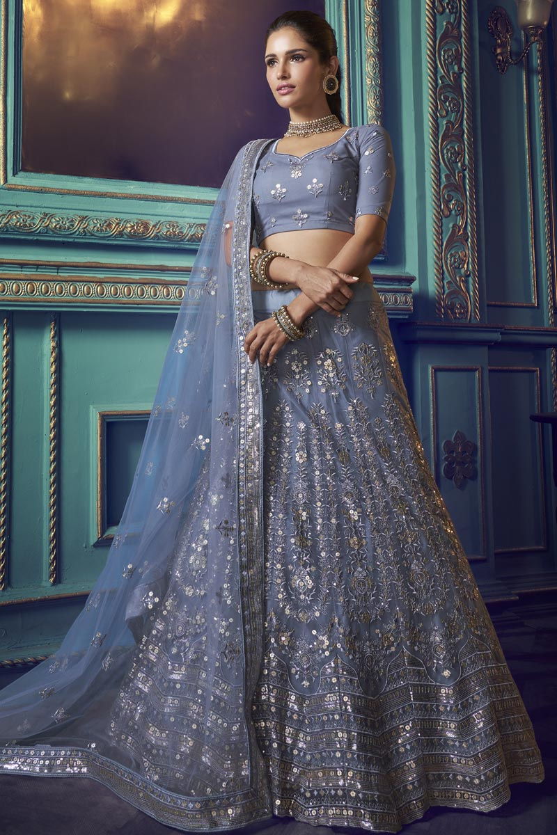 Grey Color Sangeet Function Wear Net Fabric Lehenga