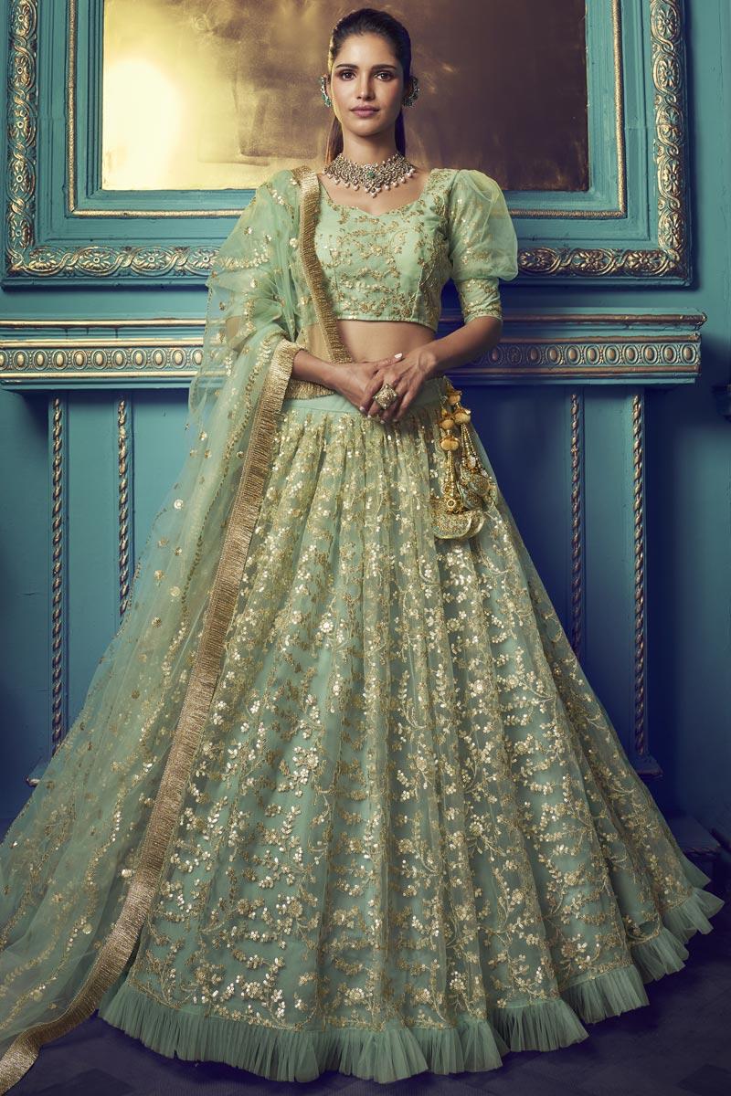 Sangeet Function Wear Sea Green Color Net Fabric Lehenga Choli