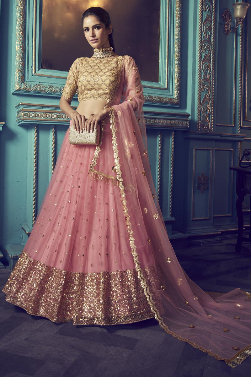 Sangeet Function Wear Net Fabric Pink Color Lehenga Choli