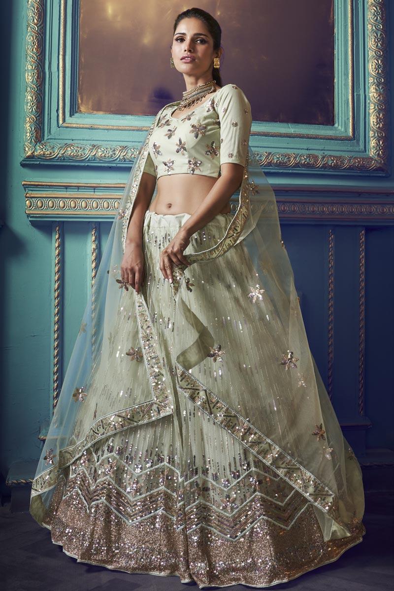 Sea Green Color Sangeet Function Wear Lehenga In Net Fabric