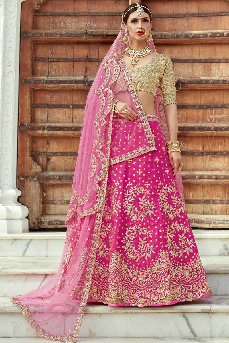 Buy Exclusive Art Silk Embroidered Designer Lehenga Choli In Rani Color Online 176cindrella1101 Fabric of this semi stitched lehenga is georgette and fancy sequins work with deserving beautiful border. exclusive art silk embroidered designer lehenga choli in rani color