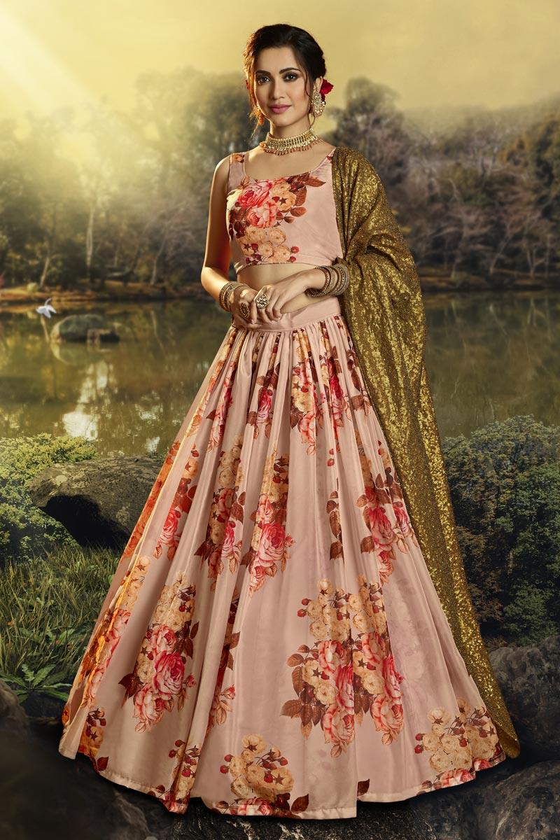 Peach Color Sangeet Function Wear Fancy Fabric Printed Lehenga