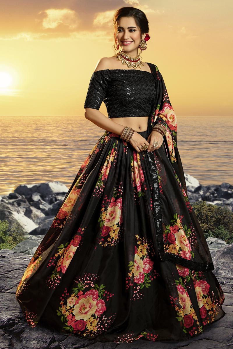 Black Color Sangeet Function Wear Printed Fancy Fabric Lehenga
