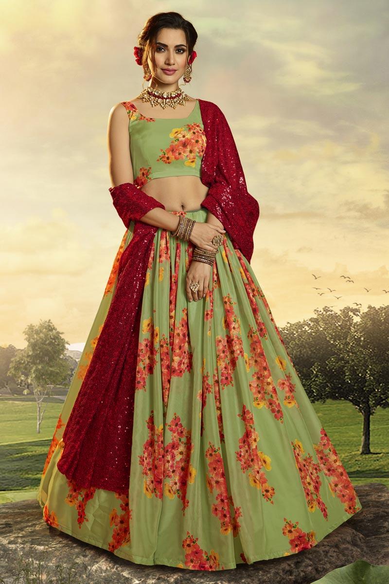 Fancy Fabric Sangeet Function Wear Printed Lehenga In Sea Green Color