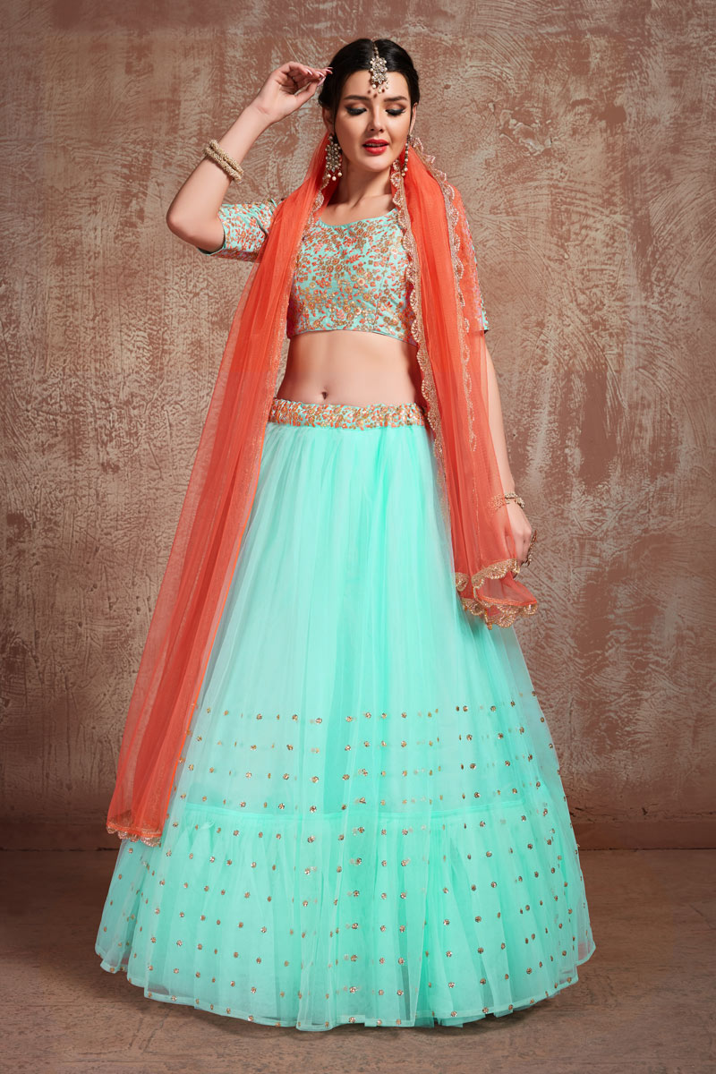 Exclusive Net Fabric Designer Bridal Lehenga With Embroidery Work On Cyan