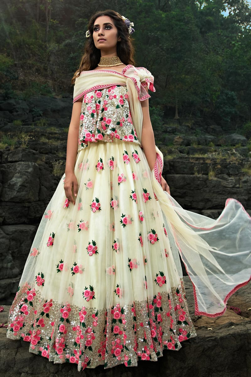 Exclusive Designer Embroidered Off White Color Function Wear Net Fabric Lehenga Choli