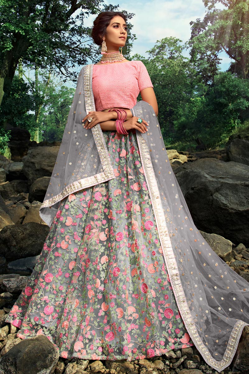 Exclusive Function Wear Net Fabric Designer Embroidered Grey Color Lehenga Choli