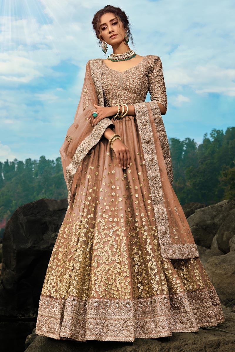 Exclusive Designer Brown Color Function Wear Embroidered Net Fabric Lehenga