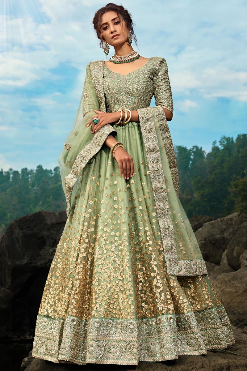 Exclusive Function Wear Sea Green Color Designer Net Fabric Embroidered Lehenga Choli